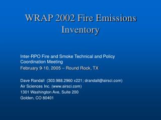 WRAP 2002 Fire Emissions Inventory