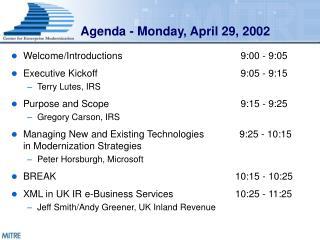 Agenda - Monday, April 29, 2002