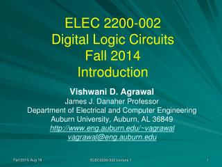 ELEC 2200-002 Digital Logic Circuits Fall 2014 Introduction