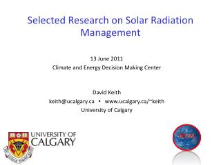 Selected Research on Solar Radiation Management