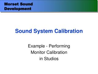 Sound System Calibration