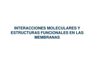 INTERACCIONES MOLECULARES Y ESTRUCTURAS FUNCIONALES EN LAS MEMBRANAS