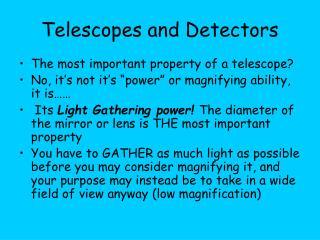 Telescopes and Detectors