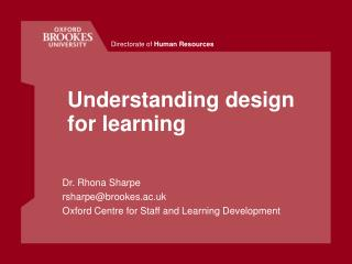 Understanding design for learning