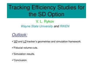 Tracking Efficiency Studies for the SD Option