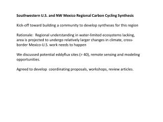 Southwestern U.S. and  NW Mexico  Regional Carbon Cycling Synthesis