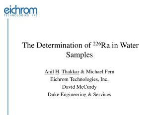 The Determination of  226 Ra in Water Samples