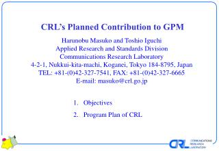 CRL's Planned Contribution to GPM