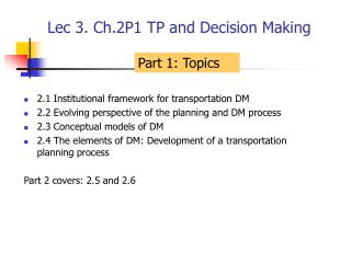 Lec 3. Ch.2P1 TP and Decision Making