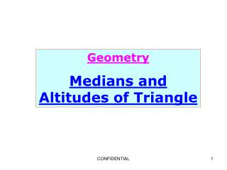 Geometry Medians and Altitudes of Triangle