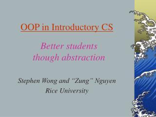 OOP in Introductory CS