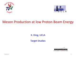 Meson Production at low Proton Beam Energy