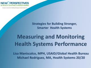 Strategies for Building Stronger,  Smarter  Health Systems