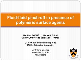 Fluid-fluid pinch-off in presence of polymeric surface agents