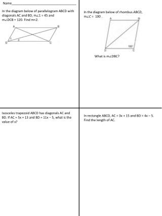 In the diagram below of parallelogram ABCD with diagonals AC and BD, m?1 = 45 and