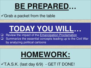 BE PREPARED … Grab a packet from the table