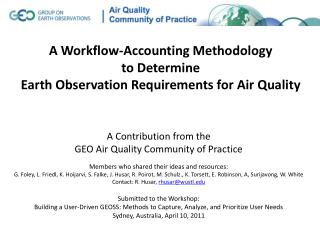 A Workflow-Accounting Methodology to Determine Earth Observation Requirements for Air Quality
