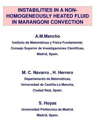 A.M.Mancho Instituto de Matemáticas y Física Fundamental,