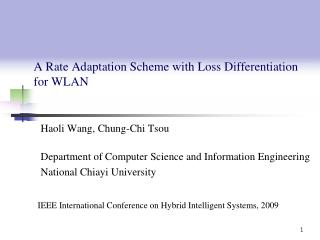 A Rate Adaptation Scheme with Loss Differentiation for  WLAN