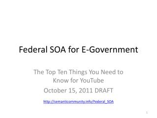 Federal SOA for E-Government
