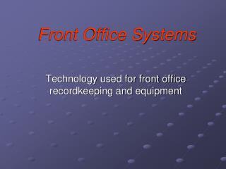 Front Office Systems