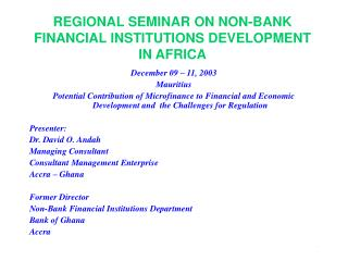 REGIONAL SEMINAR ON NON-BANK FINANCIAL INSTITUTIONS DEVELOPMENT IN AFRICA