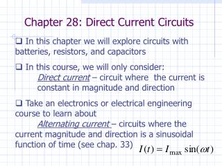 Chapter 28: Direct Current Circuits