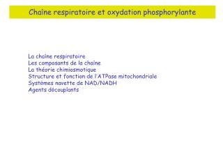 Cha î ne respiratoire et oxydation phosphorylante