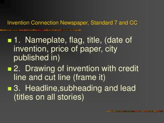 Invention Connection Newspaper, Standard 7 and CC
