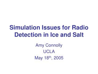 Simulation Issues for Radio Detection in Ice and Salt