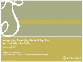 Integrating Emerging Market Equities  into a Global Portfolio