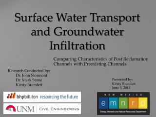 Surface Water Transport and Groundwater Infiltration