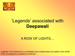 �Legends� associated with  Deepawali