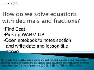 How do we solve equations with  decimals  and fractions?