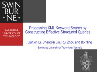 Processing XML Keyword Search by Constructing Effective Structured Queries