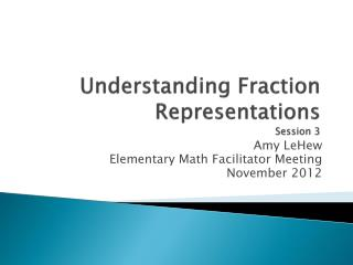 Understanding Fraction Representations Session  3
