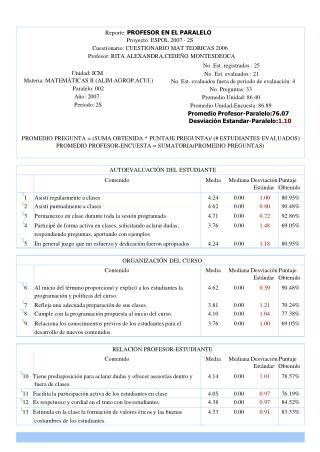 Reporte:  PROFESOR EN EL PARALELO Proyecto: ESPOL 2007 - 2S
