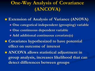 One-Way Analysis of Covariance (ANCOVA)