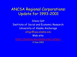 ANCSA Regional Corporations: Update for 1993-2001