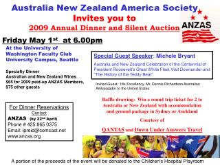 Australia New Zealand America Society Invites you to  2009 Annual Dinner and Silent Auction