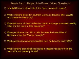 Nazis Part 1:  Helped Into Power  (Video Questions)