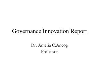 Governance Innovation Report