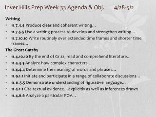 Inver Hills Prep Week 33 Agenda & Obj. 4/28-5/2