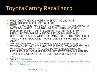 Toyota  Camry  Recall 2007