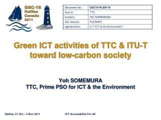 Green ICT activities of TTC  ITU-T toward low-carbon society