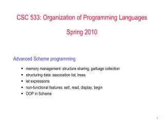 CSC 533: Organization of Programming Languages Spring 2010