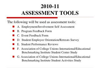 2010-11 ASSESSMENT TOOLS