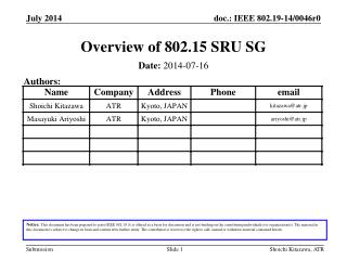 Overview of 802.15 SRU SG