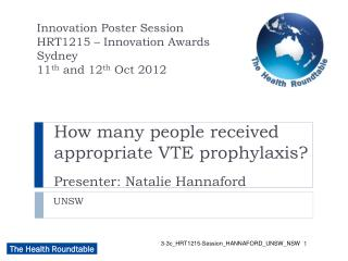 How many people received appropriate VTE prophylaxis? Presenter: Natalie Hannaford