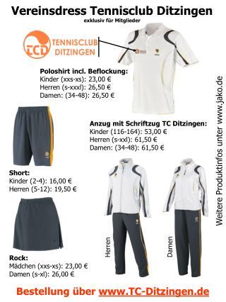 Vereinsdress Tennisclub Ditzingen exklusiv für Mitglieder